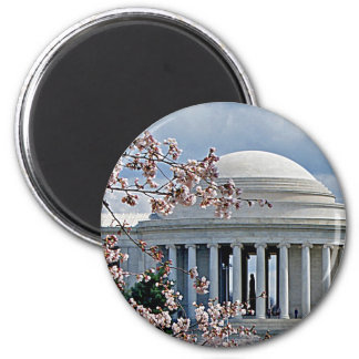 Jefferson Memorial - Cherry Blossoms 2 Inch Round Magnet