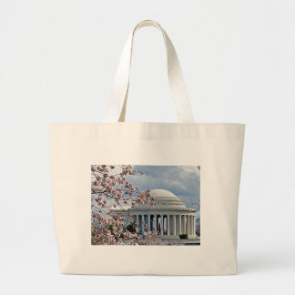Jefferson Memorial - Cherry Blossoms Large Tote Bag