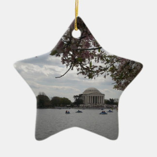 Jefferson Memorial During Cherry Blossom Festival Ceramic Ornament