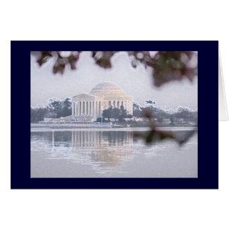 Jefferson Memorial reflected in Tidal Basin Card