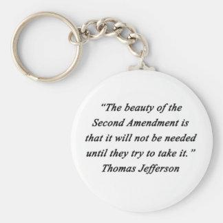 Jefferson - Second Amendment Basic Round Button Keychain