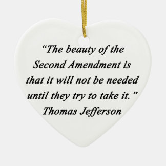 Jefferson - Second Amendment Ceramic Heart Ornament