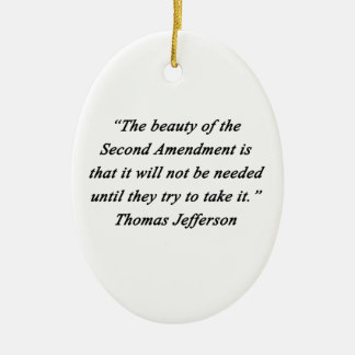 Jefferson - Second Amendment Ceramic Oval Ornament