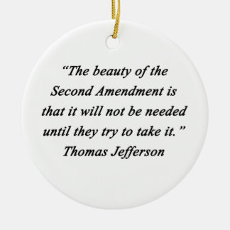 Jefferson - Second Amendment Round Ceramic Ornament