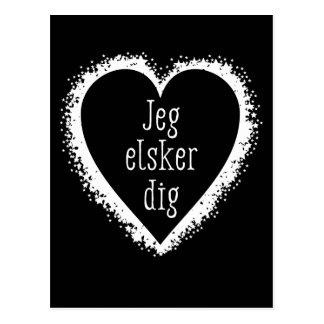 Jeg elsker dig , I love you in Danish black&white Postcard