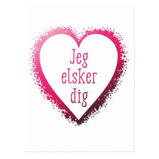 Jeg elsker dig , I love you in Danish in pink Postcard