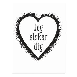 Jeg elsker dig , I love you in Danish Postcard