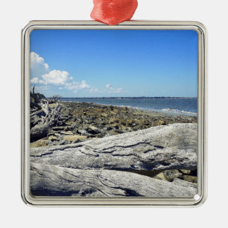 Jekyll View Silver-Colored Square Ornament