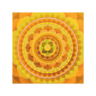 Jellow orange mandala canvas print