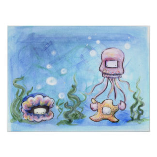 Jelly and starfish poster