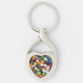 Jelly Bean black blue green Candy Texture Template Silver-Colored Twisted Heart Keychain
