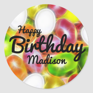 Jelly Bean Candy Personalized Happy Birthday Classic Round Sticker