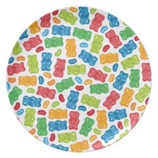 Jelly Beans & Gummy Bears Pattern Dinner Plate
