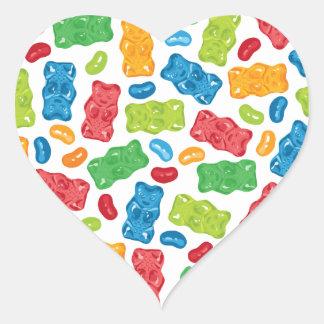 Jelly Beans & Gummy Bears Pattern Heart Sticker