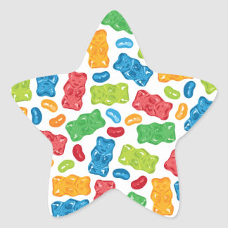 Jelly Beans & Gummy Bears Pattern Star Sticker
