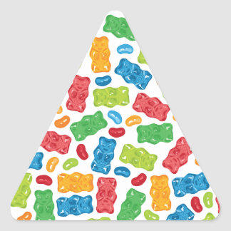 Jelly Beans & Gummy Bears Pattern Triangle Sticker