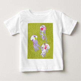 Jelly fishes on lime green background. baby T-Shirt