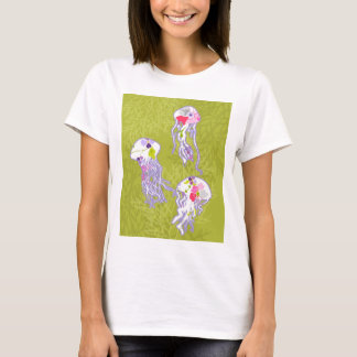 Jelly fishes on lime green background. T-Shirt