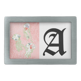 Jelly fishes on pastel pink background. belt buckle