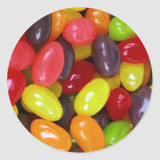 Jellybeans sweet message classic round sticker