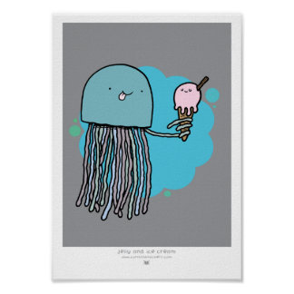Jellyfish and ice cream A4 print
