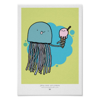 Jellyfish and ice cream A4 print Green background