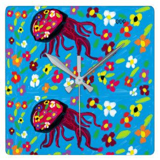 jellyfish art square wall clock