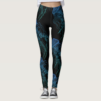 Jellyfish Blue Green Black Leggings