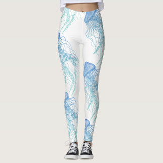 Jellyfish Blue Green White Leggings