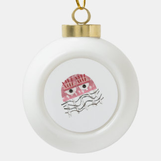 Jellyfish Comb Bauble Ceramic Ball Christmas Ornament