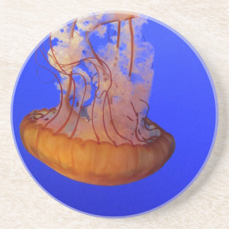 Jellyfish in blue water drink coasters