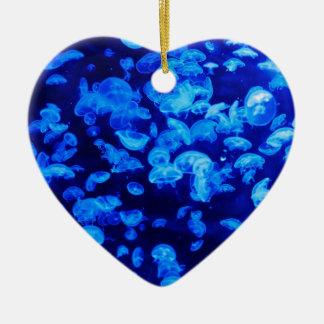 Jellyfish in Deep Blue Sea Ceramic Ornament