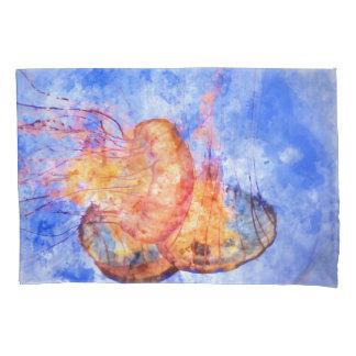 Jellyfish in the Ocean Watercolor Pillowcase