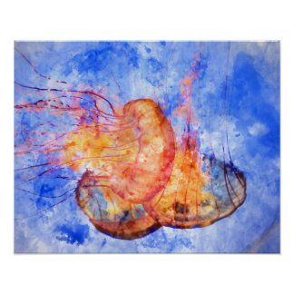 Jellyfish in the Ocean Watercolor Poster