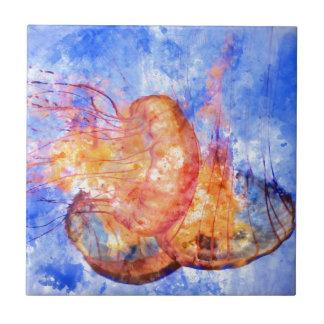 Jellyfish in the Ocean Watercolor Tile