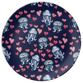 Jellyfish Love Porcelain Plate