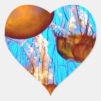 Jellyfish Madness Heart Sticker