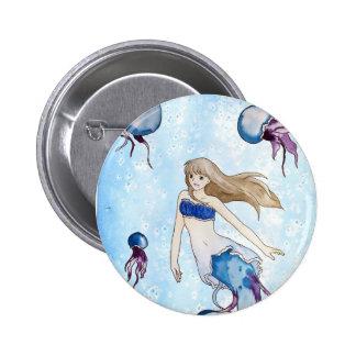Jellyfish Mermaid 2 Inch Round Button