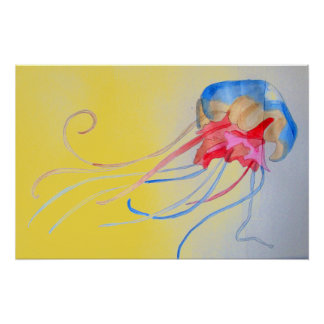 Jellyfish on the sand original art illustration poster