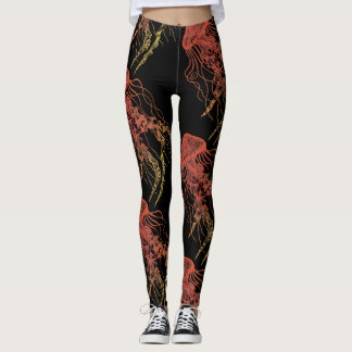Jellyfish Orange, Red, Yellow Black Leggings