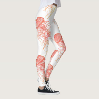 Jellyfish Orange, Red, Yellow White Leggings