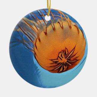 Jellyfish Round Ceramic Ornament