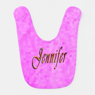 Jennifer Name, Logo Baby Girls Pink Bib