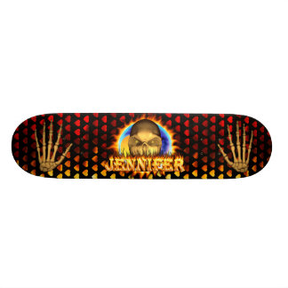 Jennifer skull real fire and flames skateboard des