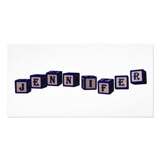 Jennifer toy blocks in blue. picture card