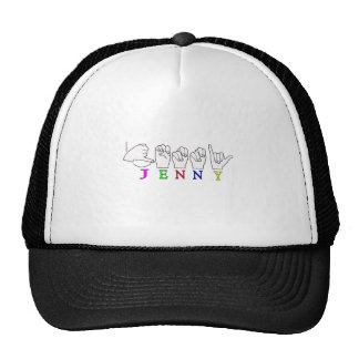 JENNY ASL FINGERSPELLED NAME SIGN TRUCKER HAT
