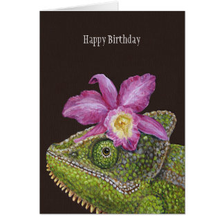 Jenny the chameleon birthday card
