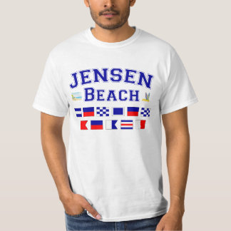 Jensen Beach, FL - Nautical Flag Spelling T-Shirt