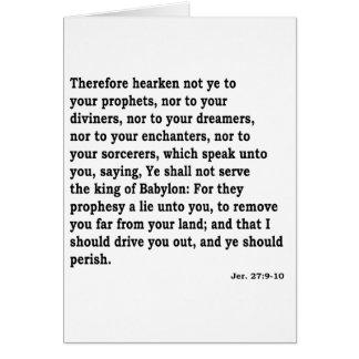 Jer. 27: 9-10 card