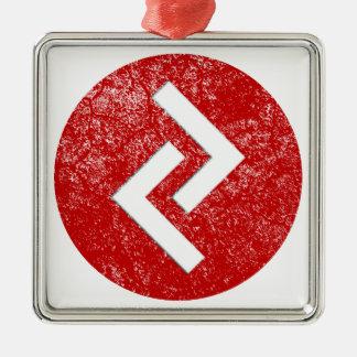 Jera Rune Silver-Colored Square Ornament